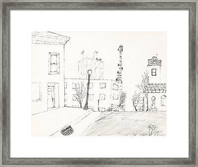 City Street - Sketch Framed Print by Robert Meszaros