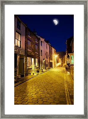 City Street At Night, Staithes Framed Print by John Short