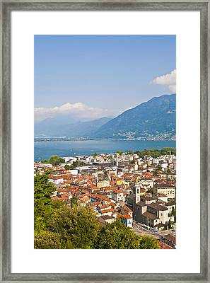 Cityscape Of Locarno, Lake Maggiore, Switzeland Framed Print by Werner Dieterich