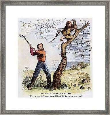Civil War Cartoon, 1862 Framed Print by Granger