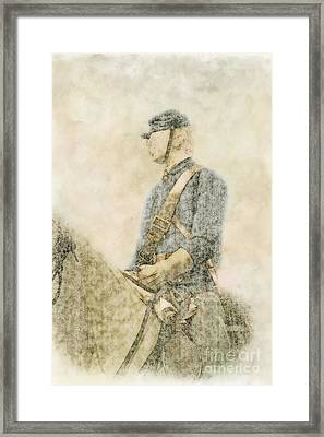 Civil War Union Cavalry Trooper Framed Print by Randy Steele