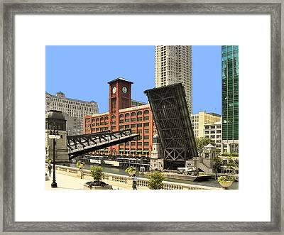 Clark Street Bridge Chicago - A Contrast In Time Framed Print by Christine Till