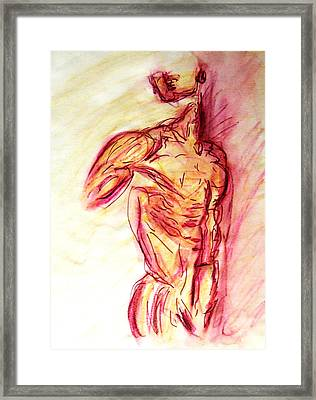 Classic Muscle Male Nude Looking Over Shoulder Sketch In A Sensual Primal Erotic Timeless Master Art Framed Print by M Zimmerman