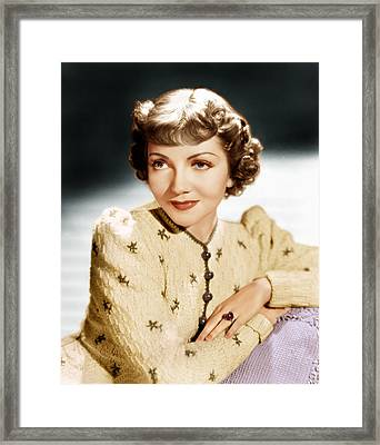 Claudette Colbert, Ca. 1939 Framed Print by Everett