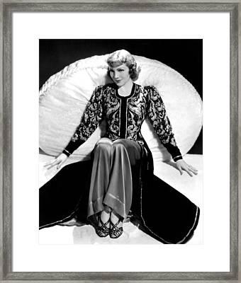 Claudette Colbert, In A Travis Banton Framed Print by Everett