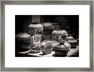 Clay Pots Black And White Framed Print by Sherry Davis