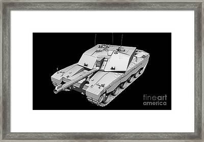 Clay Render Of A Challenger II Tank Framed Print by Rhys Taylor