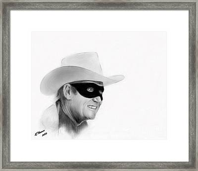 Cowboy Pencil Drawings Framed Print featuring the photograph Clayton Moore by Arne Hansen