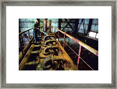 Cleaning Gold Mining Equipment Framed Print by Ria Novosti