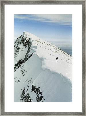 Climber Approaches False Summit Framed Print by Gordon Wiltsie