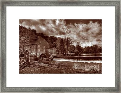 Clinton Red Mill House Sepia Framed Print by Lee Dos Santos