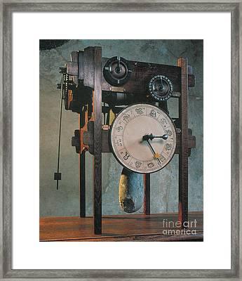 Clock Based On Da Vinci Design Framed Print by Science Source