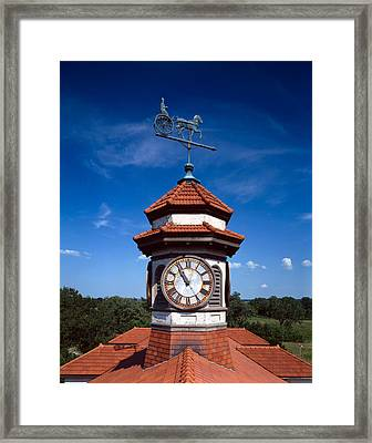 Clock Tower And Weathervane, Longview Framed Print by Everett