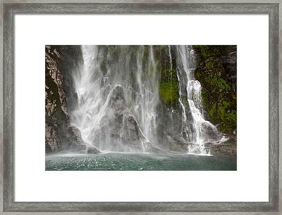 Close Up Of One Of The Many Waterfalls Framed Print by Brooke Whatnall