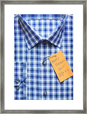 Close-up Of Shirt With Happy Father's Day Tag Framed Print by Andrew Kolb