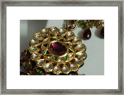 Close Up Of The Gold And Diamond Setting Of A Large Necklace Framed Print by Ashish Agarwal