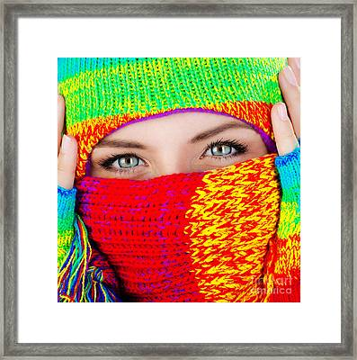 Close Up On Covered Face With Blue Eyes Framed Print by Anna Om