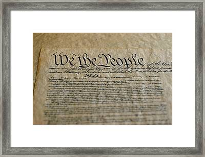 Close View Of The Us Constitution Framed Print by Kenneth Garrett