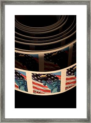 Closeup Of Modern United States Stamps Framed Print by Phil Schermeister