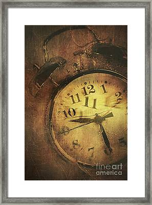 Closeup Of Old Clock Frozen In Ice Framed Print by Sandra Cunningham