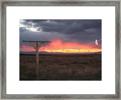 Clothesline Sunset Framed Print by Sharon Farris