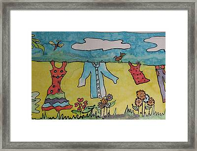 Clothesline Framed Print by Yvonne Feavearyear