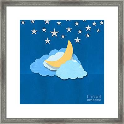 Cloud Moon And Stars Design Framed Print by Setsiri Silapasuwanchai
