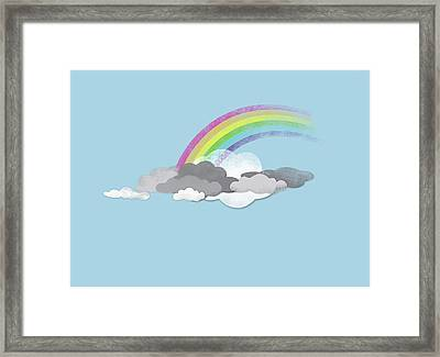 Clouds And A Rainbow Framed Print by Jutta Kuss