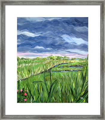 Cloudy Marsh Framed Print by Clara Sue Beym