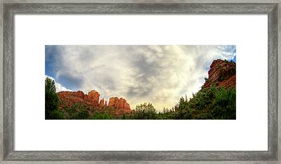 Cloudy Skies Over Cathedral Rock Framed Print by David Sunfellow