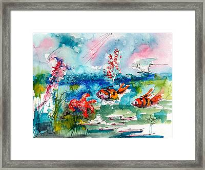 Clown Fish Deep Sea Watercolor Framed Print by Ginette Callaway