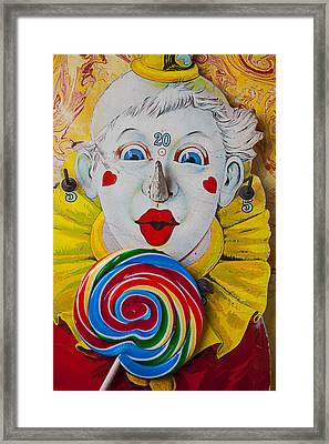 Clown Game And Sucker Framed Print by Garry Gay