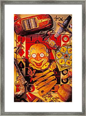 Clown Toy And Old Playthings Framed Print by Garry Gay