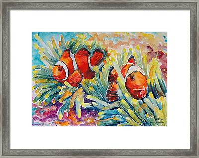 Clownfish In Their Paradise Framed Print by Barbara Pommerenke
