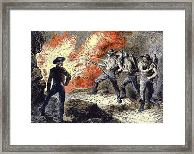Coal Mine Fire, 19th Century Framed Print by Sheila Terry