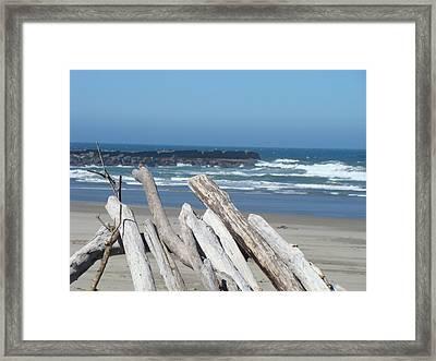 Coastal Driftwood Art Prints Blue Sky Ocean Waves Framed Print by Baslee Troutman