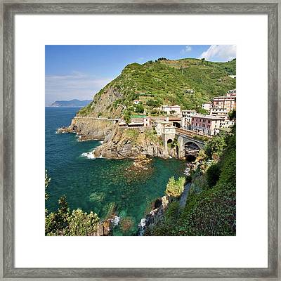 Coastal Railway Tunnel In Italian Village Framed Print by Wx Photography