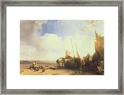Coastal Scene In Picardy Framed Print by Richard Parkes Bonington