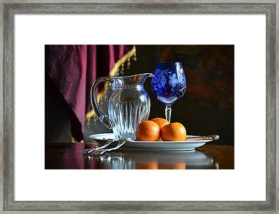 Cobalt And Orange Framed Print by Patricia Caldwell
