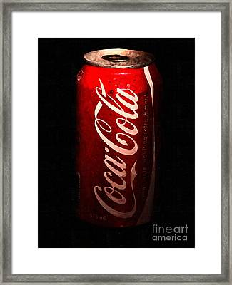 Coca Cola Coke Can . Painterly Framed Print by Wingsdomain Art and Photography