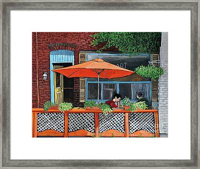 Coffee At Nu Art Cafe Verdun Framed Print by Reb Frost