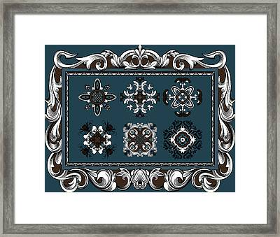 Coffee Flowers Ornate Medallions 6 Piece Collage Mediterranean Framed Print by Angelina Vick
