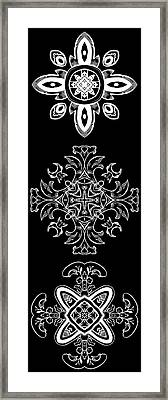 Coffee Flowers Ornate Medallions Bw Vertical Tryptych 1 Framed Print by Angelina Vick