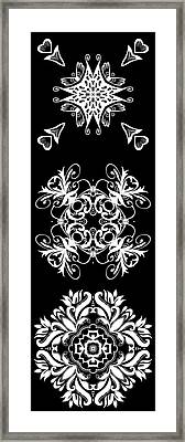 Coffee Flowers Ornate Medallions Bw Vertical Tryptych 2 Framed Print by Angelina Vick