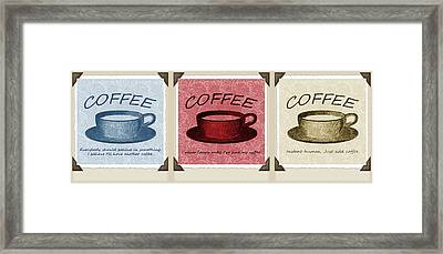 Coffee Flowers Scrapbook Triptych 1  Framed Print by Angelina Vick