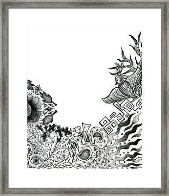 Collage Of Symbols Framed Print by Tessa Hunt-Woodland