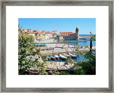 Collioure From Knights Of Templar Castle Framed Print by Marilyn Dunlap