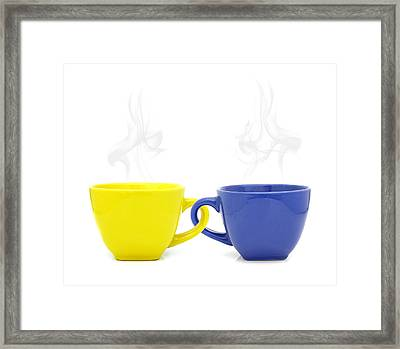 Color Cup With Hot Drink On White Background Framed Print by Natthawut Punyosaeng