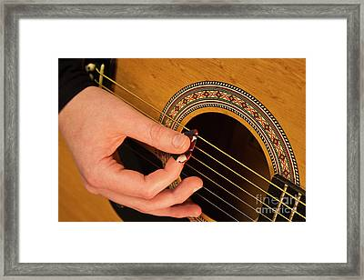 Color Guitar Picking Framed Print by Michael Waters