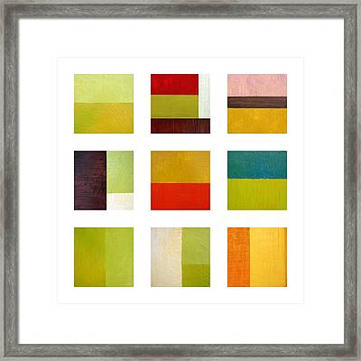 Color Study Abstract Collage Framed Print by Michelle Calkins